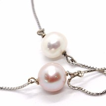 NECKLACE WHITE GOLD 750 18K,PEARLS PURPLE & WHITE,WITH HANGING CHARM,CHAIN - $568.63