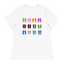Multi coloured flip flops summer beach theme Women's Relaxed T-Shirt - $29.00+