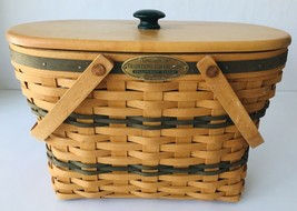 Longaberger Traditions Collection Fellowship Basket 1987 Edition + Lid & Liner - $95.79