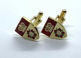 Stylish Shield Design Gold Tone Cufflinks - $6.88