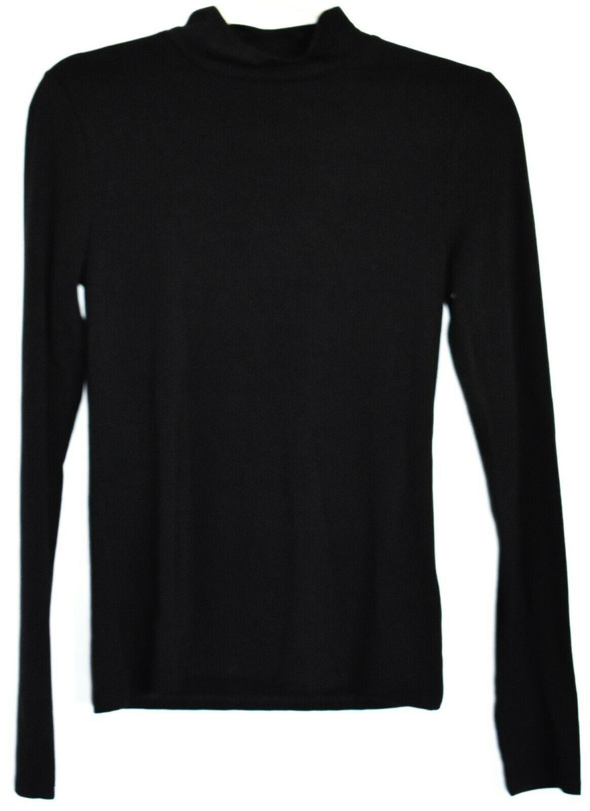 Forever 21 Solid Black Long Sleeve Mock Neck Plain Shirt Top Size M