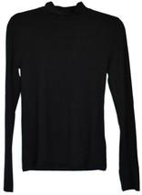 Forever 21 Solid Black Long Sleeve Mock Neck Plain Shirt Top Size M image 1