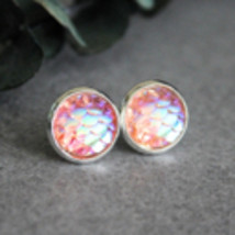 Mermaid Earrings, Peach Earrings, Fish Scale Earrings, Peach Stud Earrings - $7.99