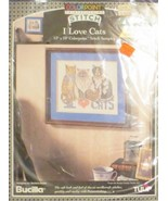 Bucilla Paint Stitching Stitch I Love Cats - $8.90