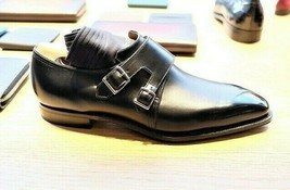 Men's handmade double monk strap dress shoes custom leather shoes for men - $168.29