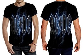 AC DC logo blue lightning Tee Men - $21.80