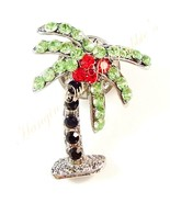 Palm Tree Tack Pin Brooch Crystal Peridot Black Multicolor Metal Tropica... - $15.99
