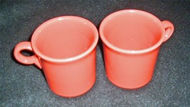 Pair of Tangerine Contemporary Fiesta Coffee Mugs / Cups - No Reserve - $11.95
