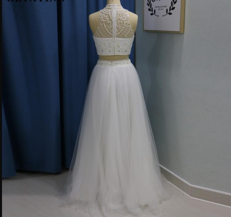 White Beaded Crystal Long Prom Dresses Two Pieces Pageant Gowns For Women 2019