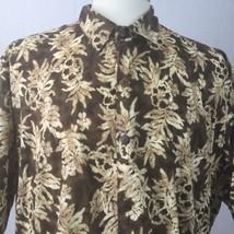 Hilo Hattie Hawaiian Shirt Men's XXL Brown Tropical Floral Made In Hawai... - $14.84