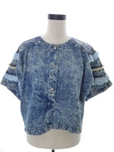Vintage 80's Acid Wash Denim Jean Crop Top with Lace by Toppings Size Me... - $24.00