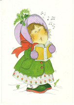 Vintage Christmas Card Caroling Girl 1970's Hallmark Unused with Envelope - $8.90