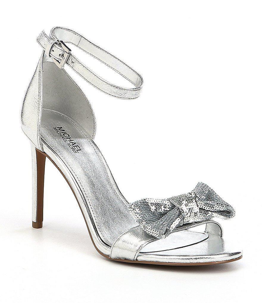 d7ea62e987a7 Michael Kors Paris Silver Sequin Bow Sandals and 50 similar items