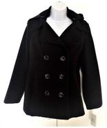 Style & Co Women's Duffy Wool Coat Trim Hooded Jacket Black - $29.99