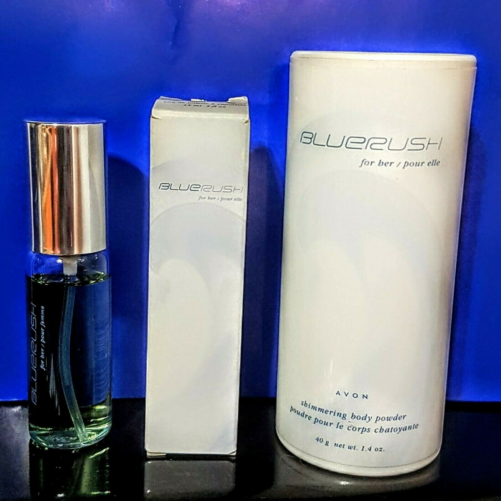 Primary image for Avon BLUE RUSH eau de Toilette Spray for Her Shimmering Body Powder NEW Gift Lot