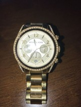 Michael Kors Womens MK-5166 Gold Tone Chronograph Analog Bracelet Watch Petite - $39.59