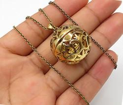 925 Sterling Silver - Vintage Ornamental Hinged Sphere Pendant Necklace ... - $51.62