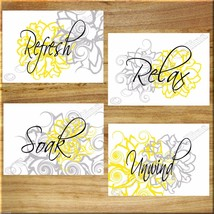 YELLOW and GRAY Wall Art Bathroom Flower Floral Prints Decor Relax Soak ... - $13.99