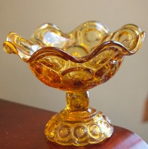 AMBER YELLOW MOON & STARS COMPOTE FOOTED BOWL VINTAGE PRESSED GLASS SCAL... - $28.99