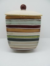 Tabletops Jentry Multicolored Embossed Stripes Large Lidded Beige Canister - $24.50