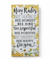 "23"" Hive Rules Wood Wall Sign w Sentiment BeeTheme - Yellow & White Color"