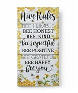 """23"""" Hive Rules Wood Wall Sign w Sentiment BeeTheme - Yellow & White Color - $39.59"""