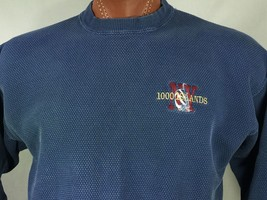 1000 Islands New York Blue Textured Crew Neck Sweatshirt L Large Embroid... - $25.43