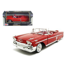 1958 Chevrolet Impala Red 1/24 Diecast Model Car by Motormax 73267r - $30.23