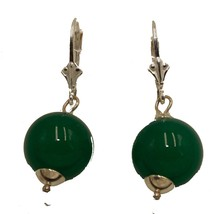 Jade Simulated Round 12mm Leverback Dangle Earrings .925 Sterling Silver  - $16.79