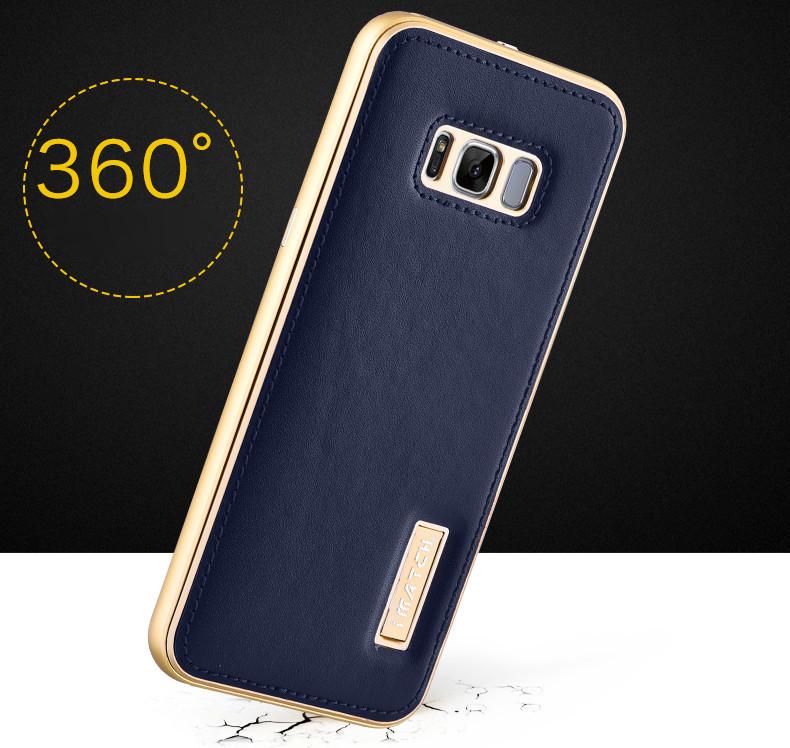 Aluminum Metal Bumper+Genuine Back Leather Case For Samsung S8 Plus Silver+Black
