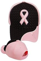 Pink Ribbon Baseball Cap Breast Cancer Awareness Black Hat - $13.76