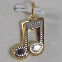 SOLID 18K WHITE & YELLOW GOLD MUSICAL NOTE PENDANT CHARM PENTAGRAM MADE IN ITALY image 1