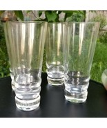 Heavy Beehive Base Clear Glass Drinking Highball Glasses Set of 4 - $40.80