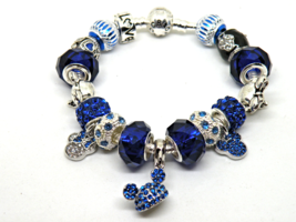 Silver & Blue Disney European Murano Beaded Bracelet. Gift bag included - $19.95