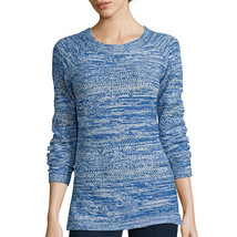 St. John's Bay Long-Sleeve Marled Scoopneck Sweater Size XL Bold Blue - $16.99