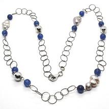Collier Argent 925, Cyanite Bleu Rondes, Perles Style Baroque Grises, 72 CM - $160.44