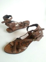 Sam Edelman Delia Woven Gladiator Flats Sandals Brown Leather Womens Size 6.5 M - $36.58