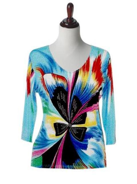 Valentina Signa Embellished 3/4 Sleeve Aqua Abstract Bow Top - Extra 15% Off!