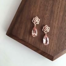 Delicated 4Ct Pear Cut Morganite Drop & Dangle Earrings In 14K Rose Gold... - $160.02
