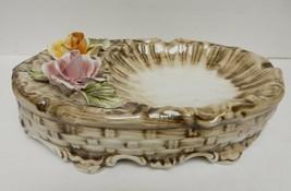 "Vtg CAPODIMONTE Foral Bowl Candy Dish Plate Porcelain Trinket Decor Italy 9.5"" L - $89.95"