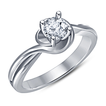 14k White Gold Finish Real 925 Sterling Silver Womens Diamond Engagement Ring - £47.88 GBP