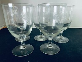 5 Sasaki Wheat Pattern Crystal Water Goblet Glass Multi-Sided Stems 5 1/... - $15.30