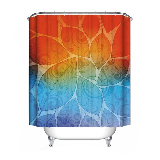 1Pcs 6 Types Flower Shower Curtain Polyester Waterproof Bathroom Curtain Decorat image 3