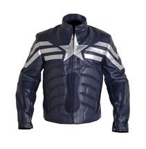 Mens Blue Captain America Biker Leather Jacket Real Men Leather Jacket - $117.91+