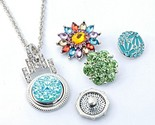 Rhinestone snaps button necklace pendant necklace fit 18mm buttons for women charm thumb155 crop