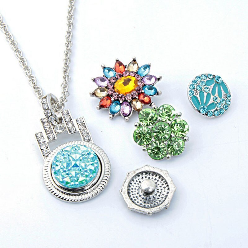 Hot Sale 203 Lock Rhinestone Snaps Button Necklace Pendant Necklace Fit 18mm But