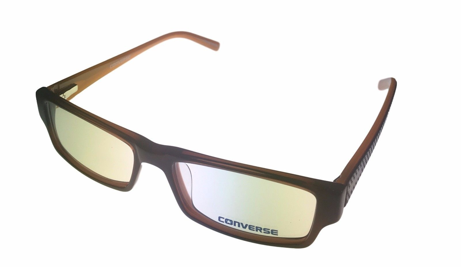 Converse Ophthalmic Mens Rectangle Plastic Eyeglass Frame Brown Q004
