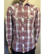 Men's Larry Mahan Cowboy Collection LS Shirt Western Diamond Snap Maroon... - $26.11