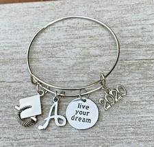 2020 Personalized Graduation Bangle Bracelet w/ Letter Charm, Live your ... - €17,46 EUR