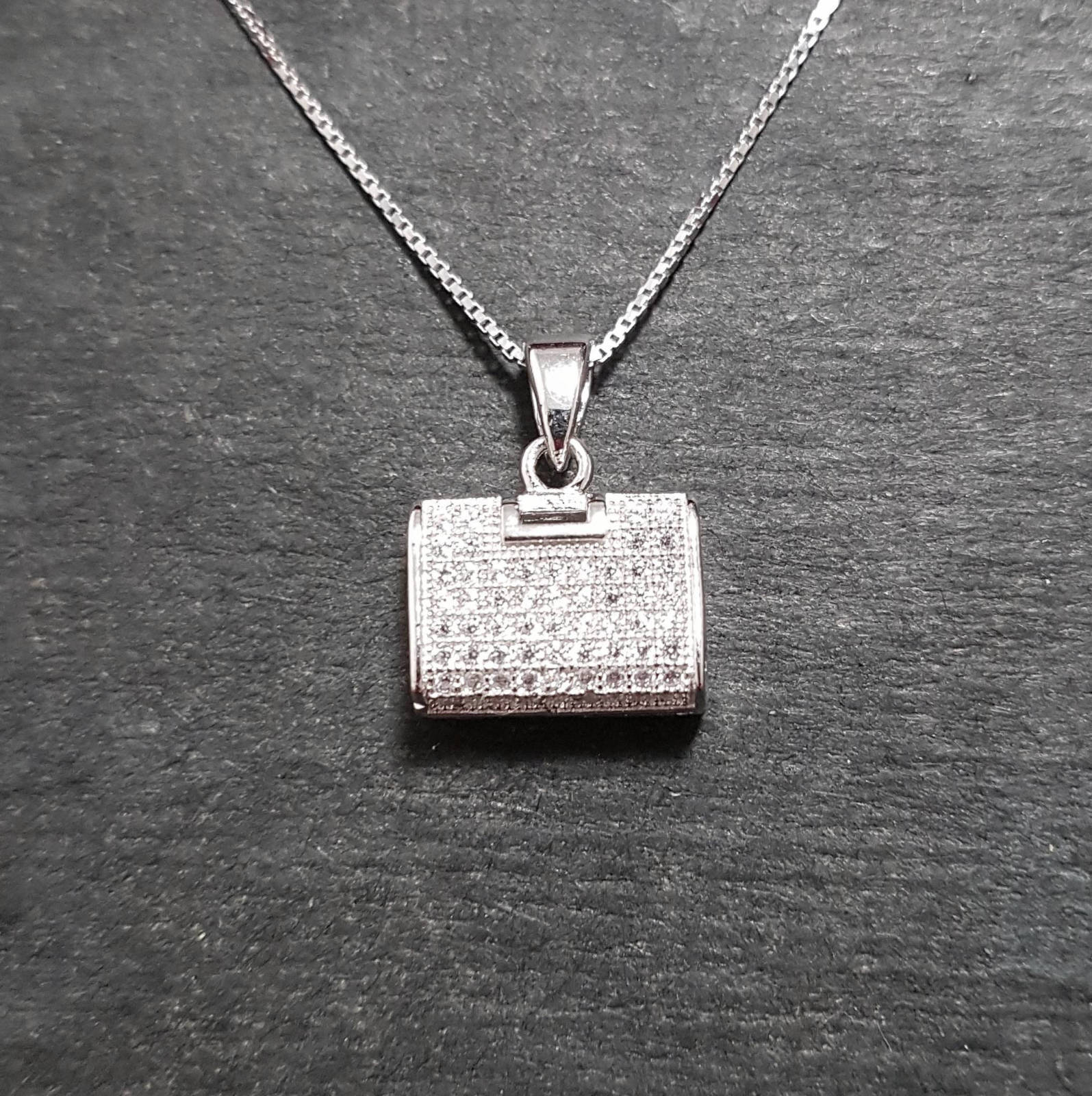 Primary image for New 14k White Gold On 925 Purse Pendant Charm